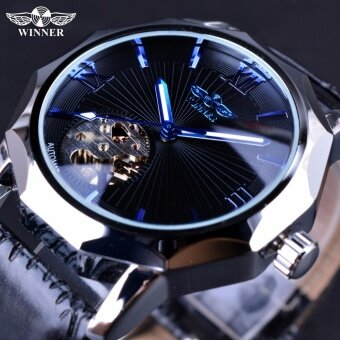 Winner Blue Ocean Geometry Design Transparent Skeleton Dial MenWatch Top Brand Luxury Automatic Fashion Mechanical Watch Clock -intl