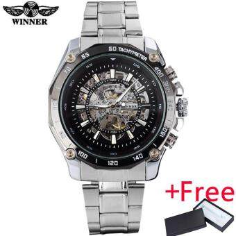 Harga WINNER fashion casual mechanical watches men luxury brand skeletondials wristwatches silver stainless steel band reloj hombre - intl
