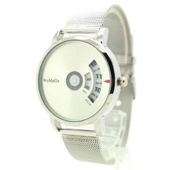 Womage Watch นาฬิกาข้อมือชาย-หญิง สาย Stainless หน้าเงินเงา ระบบจานหมุนตัวเลข WM-2