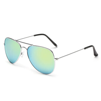 Women Sport sunglasses Fashion round multicolor lenses sunglasses (silver gold)