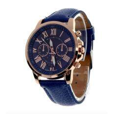 wonderful story นิวแฟชั่นสตรีเลขโรมันคล้ายคลึงผลึกนาฬิกาข้อมือหนังเทียมน้ำเงิน
