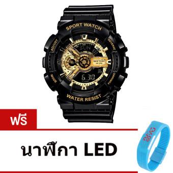 Wonderful story S SPORT นาฬิกาข้อมือ ใส่ได้ทั้งชายและหญิงกันน้ำได้-SP024 (BLACK/GOLD)แถมฟรี นาฬิกา LED ระบบสัมผัส (คละสี)