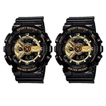 Wonderful story S SPORT นาฬิกาข้อมือ ใส่ได้ทั้งชายและหญิงกันน้ำได้-SP024 แพ็คคู่ (BLACK+BLACK)