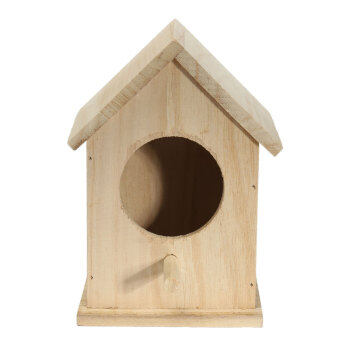 Wooden Bird House Feeder Wild Birds Nest Home Garden Nesting WithWood Stick