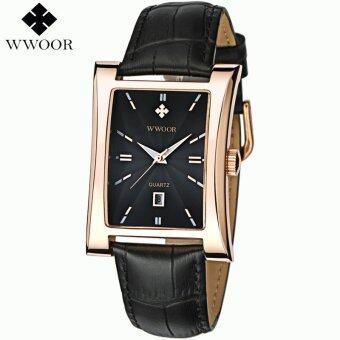 WWOOR Men Watch นาฬิกาข้อมือ es Top Brand Luxury Glow Hour DateSquare Clock Male Waterproof Casual Quartz Watch นาฬิกาข้อมือ MenLeather Strap Sport Wrist Watch นาฬิกาข้อมือ 8017