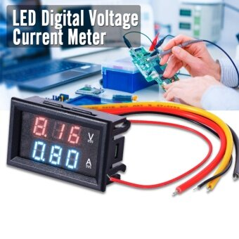 Harga XCSource โวลต์มิเตอร์ แอมมิเตอร์ DC 0-100V Voltmeter Ammeter 10ARed Blue LED Panel Amp Digital Volt Gauge