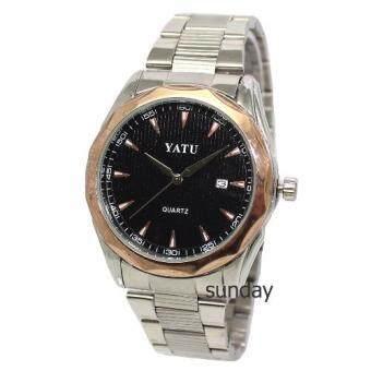 ราคา YATUนาฬิากข้อมือผู้ชายหน้าปัดดำขอบพิ้งโกลด์ สายสแตนเลสสีเงิน