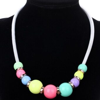 Yazilind Ethnic style colored beads White necklace - 2