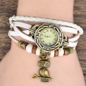 YBC Female Retro Leather Quartz Wristwatch with Owl Pendant White -Intl