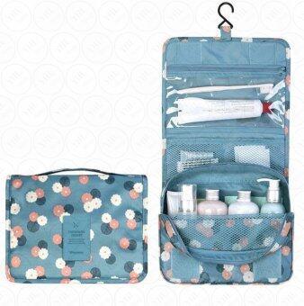 กระเป๋าจัดเก็บอุปกรณ์ในห้องน้ำ กระเป๋าแขวนในห้องน้ำกระเป๋าเครื่องสำอาง กระเป๋าจัดระเบียบ กระเป๋าพับ กันน้ำ สำหรับ พกพาเดินทาง ท่องเที่ยว (สีฟ้าลายดอก)