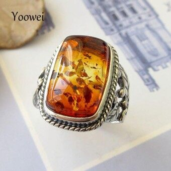 Yoowei Baltic Amber Rings for Unisex Cool Stunning Genuine Natural Amber Stone Trendy Antique Silver Jewelry Punk Wedding Rings - intl