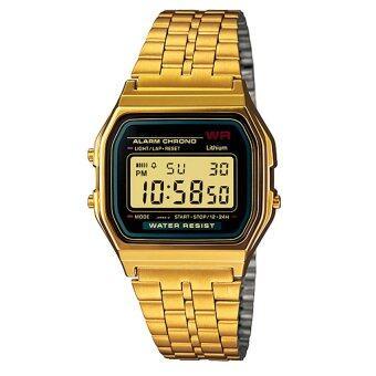 Zazzy Dolls นาฬิกาข้อมือผู้หญิง สไตล์ Digital Watch Watch ดูวันที่ จับเวลา ตั้งปลุก ได้ สายสแตนเลสสีทอง รุ่น ZD-0041 สีทอง (Gold)