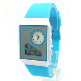 Zilin Watch นาฬิกาข้อมือผู้หญิงและเด็ก สายยาง 2 ระบบ เข็มและDigital- Z0012 (Light blue)