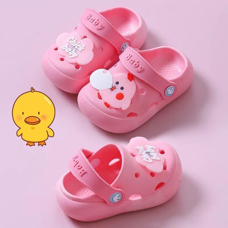 รองเท้าลำลองเด็ก รองเท้าแตะเด็ก หนังนุ่ม มีกันลื่น แต่งตัวติดตัวการ์ตูนน่ารักๆ รองเท้าแฟชั่นเด็ก(DDX02)