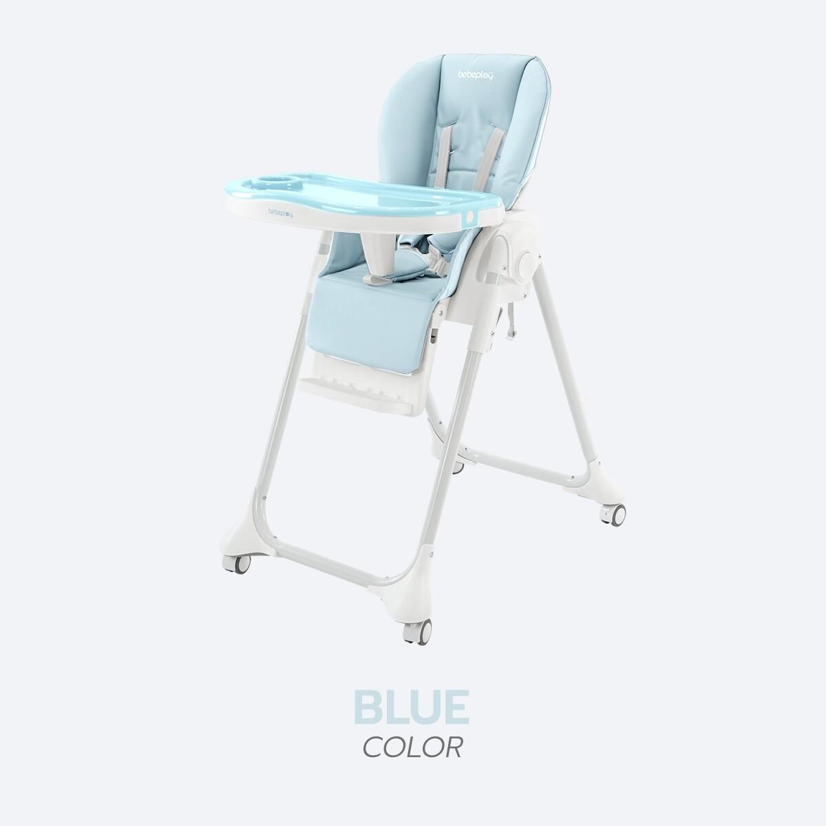 เก้าอี้กินข้าวเด็ก BebePlay รุ่น Colorful เบาะหนัง PU ถอดซักได้ ปรับสูงได้ 8 ระดับ มีล้อ ถอดได้ พร้อมถาดอาหาร 2 ชั้น วัสดุ HDPE FOODGRADE / BPA Free