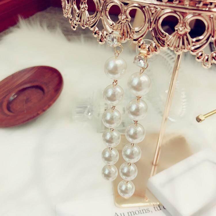 ... Elegan Elegan mutiara rumbai Anting tindik WTA Merah modis Anting-anting model panjang kepribadian Korea ...