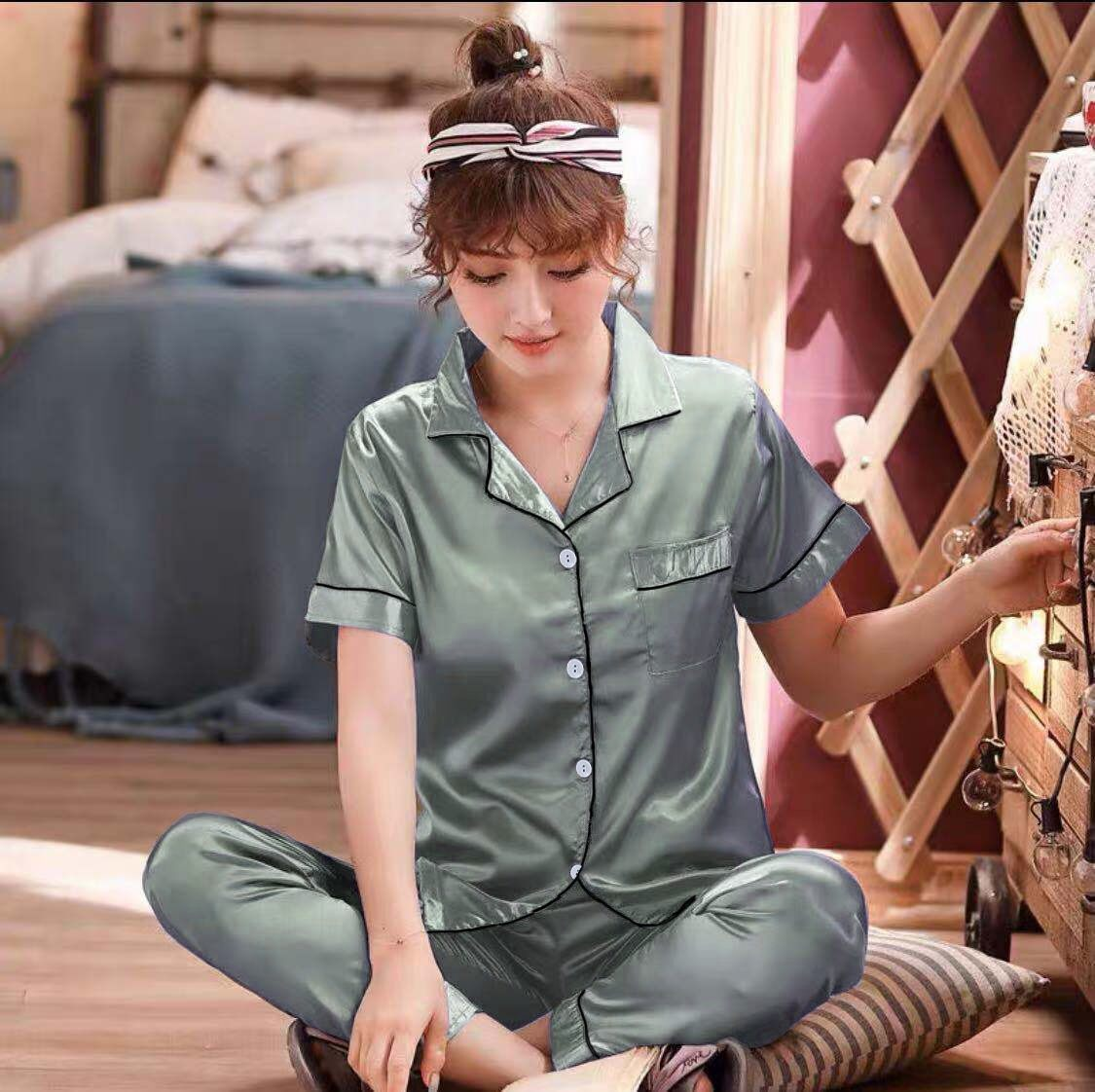 3333 เสื้อชุดนอนน่ารักๆ ผ้าซาตินใส่สบายผ้านิ่มไม่เครืองผิด สไตล์เกาหลี (สินค้าพร้อมส่ง)