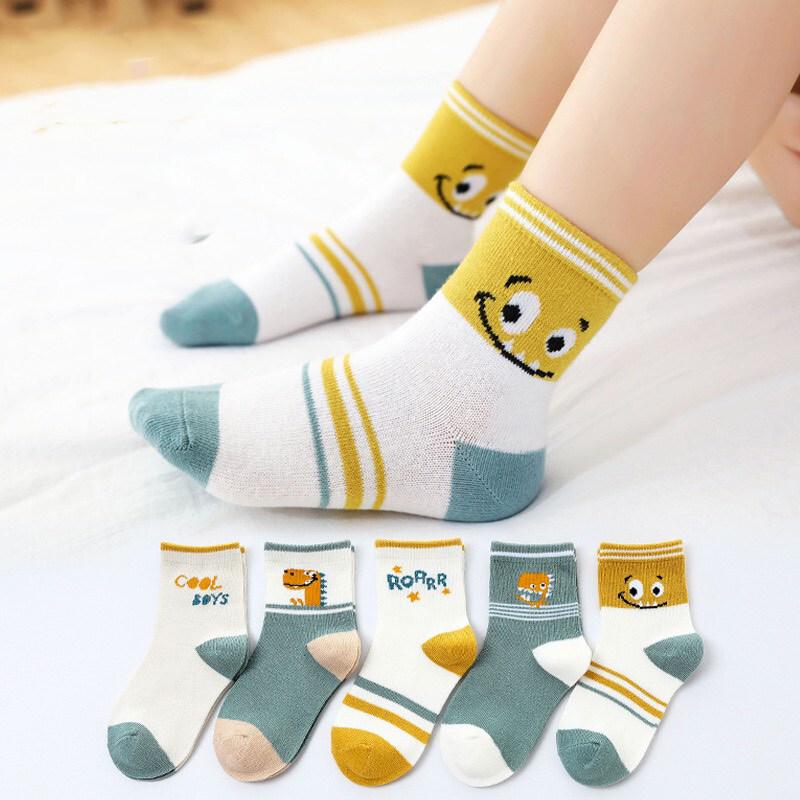 ถุงเท้าเด็ก แพ็ค 5 คู่ ลายน่ารัก ใส่สบาย ขนาดไซส์ S-XL อายุ 1-12 ปี ถุงเท้าเด็กอ่อน ถุงเท้าเด็กโต ถุงเท้าเด็กชาย ถุงเท้าเด็กหญิง