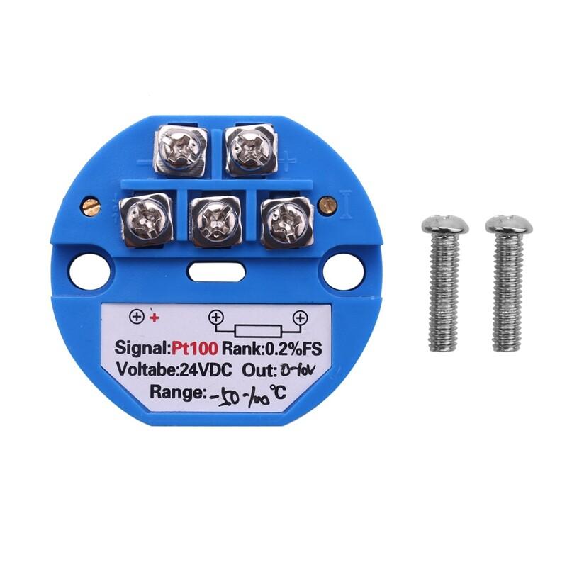 RTD PT100 Temperature Transmitter DC24V Minus 50 ~ 100 degree Output 0-10V