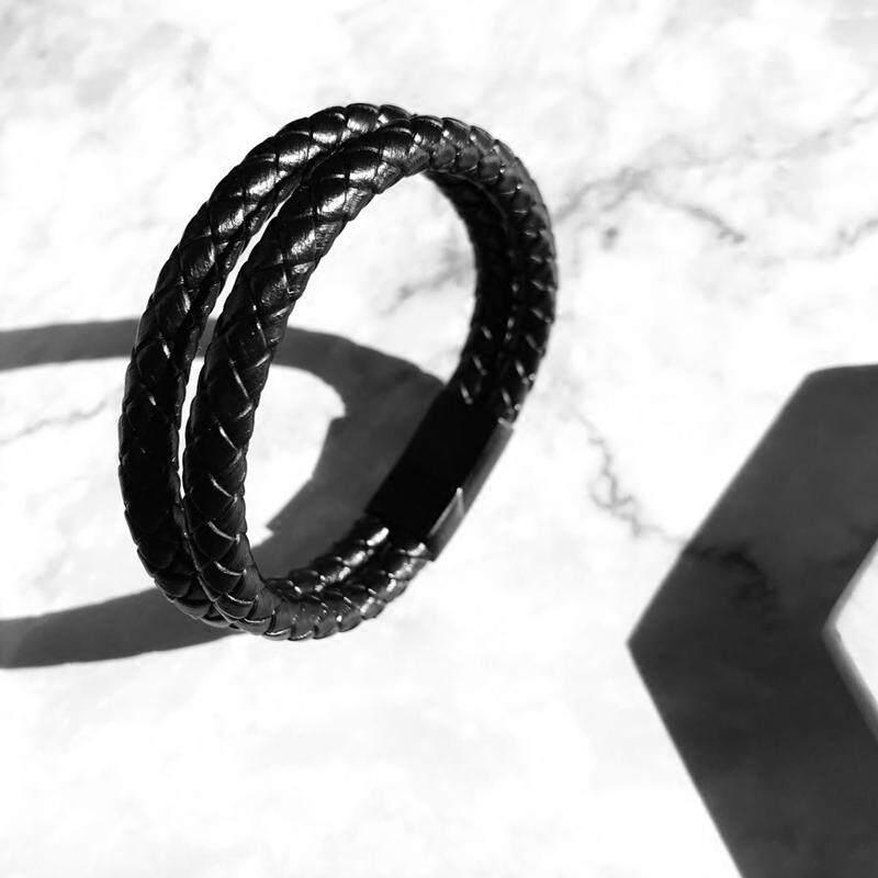 Gaya Barat asli Trendi Pria Perhiasan hitam gelang Pria baja titanium Anyaman gelang .