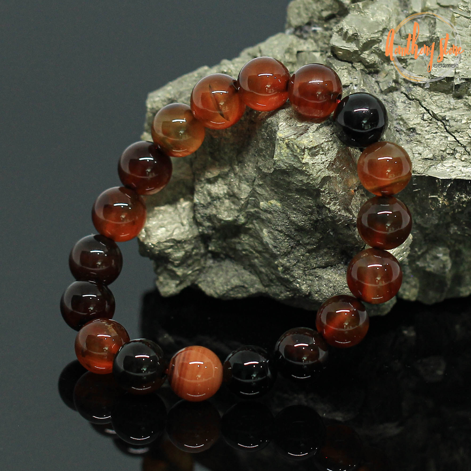หินอาเกต หินโมรา สีน้ำตาล ขนาด 10 มิล Brown Agate กำไลหินมงคล หินดวงตาสวรรค์  ช่วยปกป้องจากฝันร้าย หินสี กำไลหิน หินสีน้ำตาล by.ออมทอง   Lazada.co.th