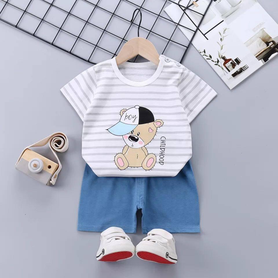 อ.2 ชุดแขนสั้นผ้ายืดนิ่มพร้อมส่ง(3เดือน-3ขวบ) เสื้อผ้าเด็ก ชุดเด็กผู้หญิง ชุดเด็กผู้ชาย