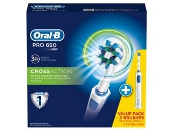 แปรงสีฟันไฟฟ้า Oral-B PRO 690 CrossAction ซื้อ 1 ได้ถึง 2 ( Bonus Pack )