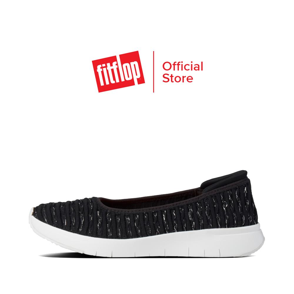 FITFLOP รองเท้าสวมส้นแบนผู้หญิง TEXTURED KNIT BALLERINAS รุ่น CN9 รองเท้าผู้หญิง