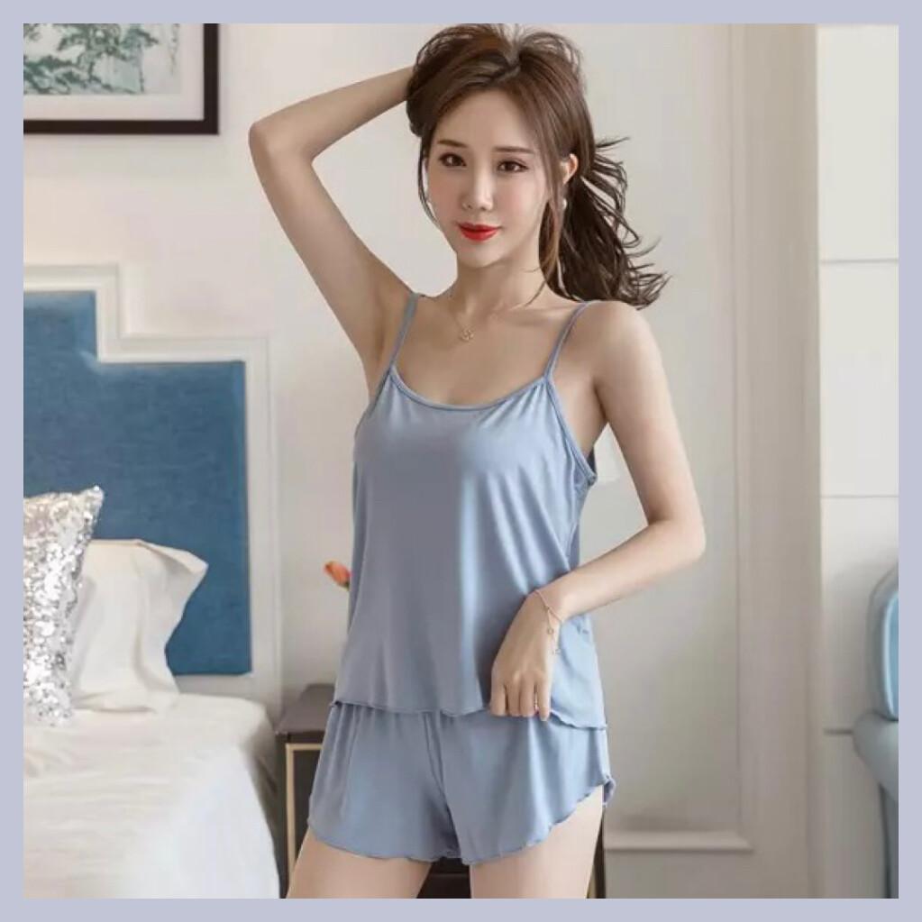 ชุดนอนสไตล์มินิมอล ชุดนอนสายเดี่ยว+กางเกงขาสั้น ชุดนอนผู้หญิง ชุดนอนเสื้อสายเดี่ยว