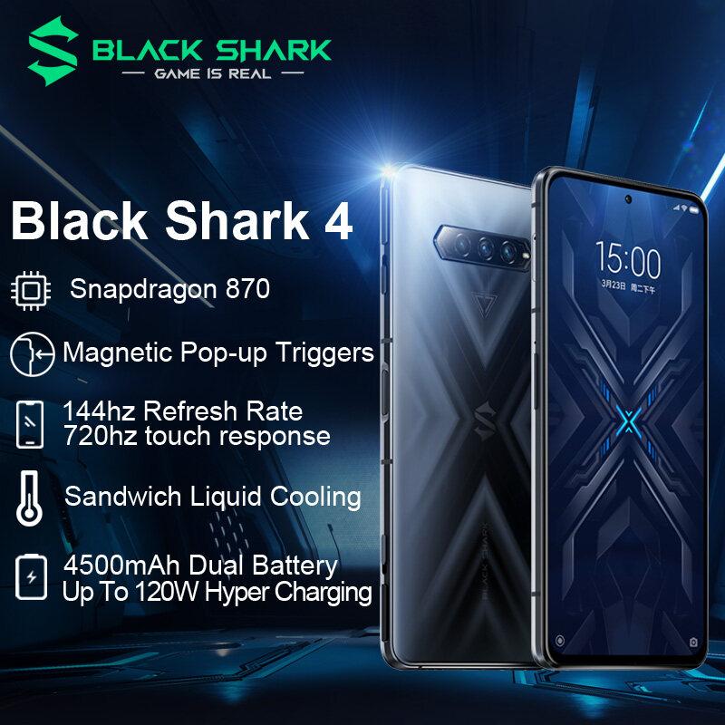 Xiaomi Black Shark 4 6GB 8GB 12GB RAM 128GB 256GB ROM Shark Phone Official Global 5G Gaming Phone Snapdragon 870 Type-C 120W Hyper Charging 144Hz Refresh Rate 6.67 inch AMOLED Magnetic Pop-Up Triggers Rog Fingerprint Redmagic Liquid Cooling