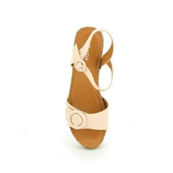 BATA รองเท้าผู้หญิง ส้นเตารีดแบบรัดส้น LADIES'HEELS WEDGE SANDAL สี ครีม รหัส 7611812
