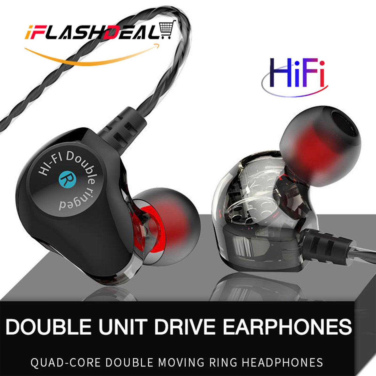 iFlashDeal In Ear Headphones HIFI Stereo Earphone Sport Earbuds Running Headset with Microphone Noise Canceling Earpods