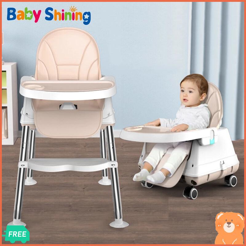 AiCooking เก้าอี้กินข้าวเด็ก โต๊ะกินข้าวเด็ก ปรับสูงได้ 3 ระดับ มีล้อ ถอดได้ พร้อมถาดอาหาร 2 ชั้น วัสดุ HDPE FOODGRADE / BPA Freeเบาะหนัง PU ถอดซักได้