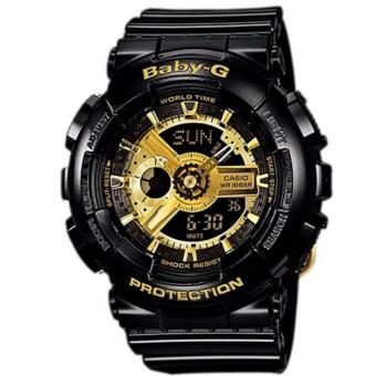 Casio Baby-G นาฬิกาข้อมือผู้หญิง สายเรซิ่น รุ่น BA-110-1A - สีดำ/ทอง