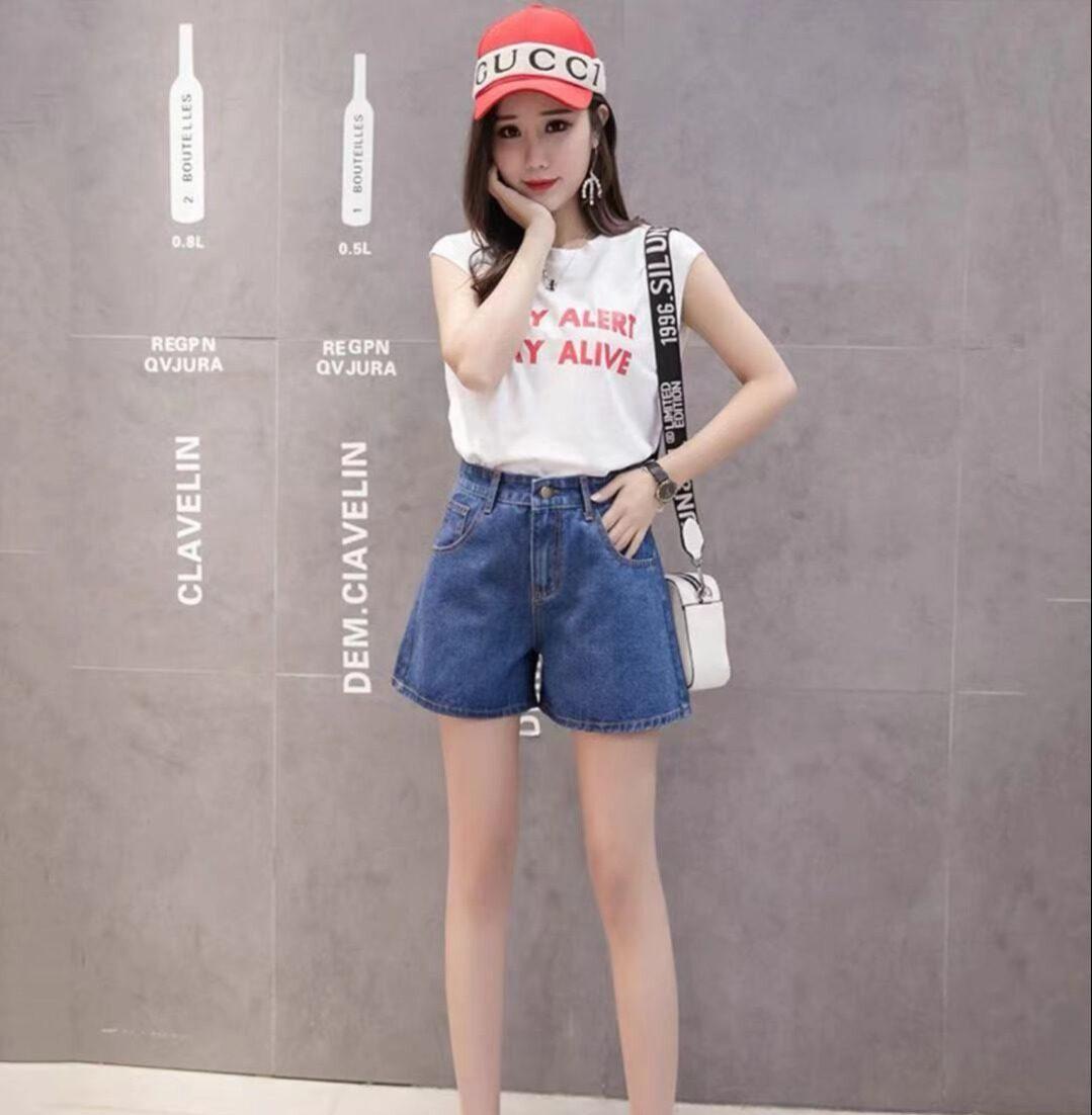 Lucky stars 2021 ใหม่เกาหลีรุ่นหลวมและบางทั้งหมดตรงกับกางเกงนักเรียนทรงเอขากว้างเอวสูง