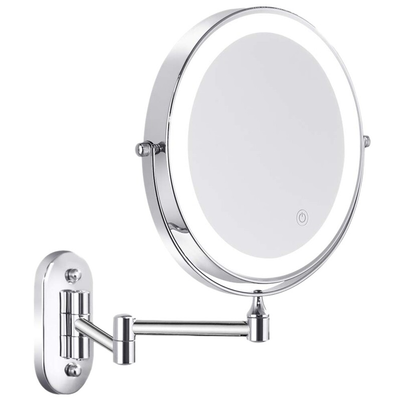 Wall Mounted Vanity Mirror With Led, Pansonite Led Wall Mount Makeup Mirror With 10x Magnification
