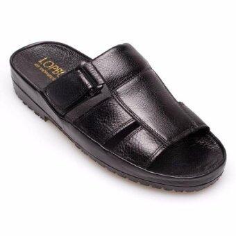 Chinatown Leather รองเท้าแตะหนังแท้เข็มขัด(สีดำ)