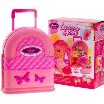 ชุดบ้านตุ๊กตากระเป๋าล้อลากพร้อมอุปกรณ์แต่งตัว(สีชมพูห้องนอนและห้องนั่งเล่น)