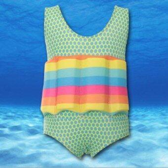 ชุดว่ายน้ำเด็กผู้หญิงแบบมีชูชีพในตัว สีเขียวลายจุด ไซส์ M-XXL # 6612