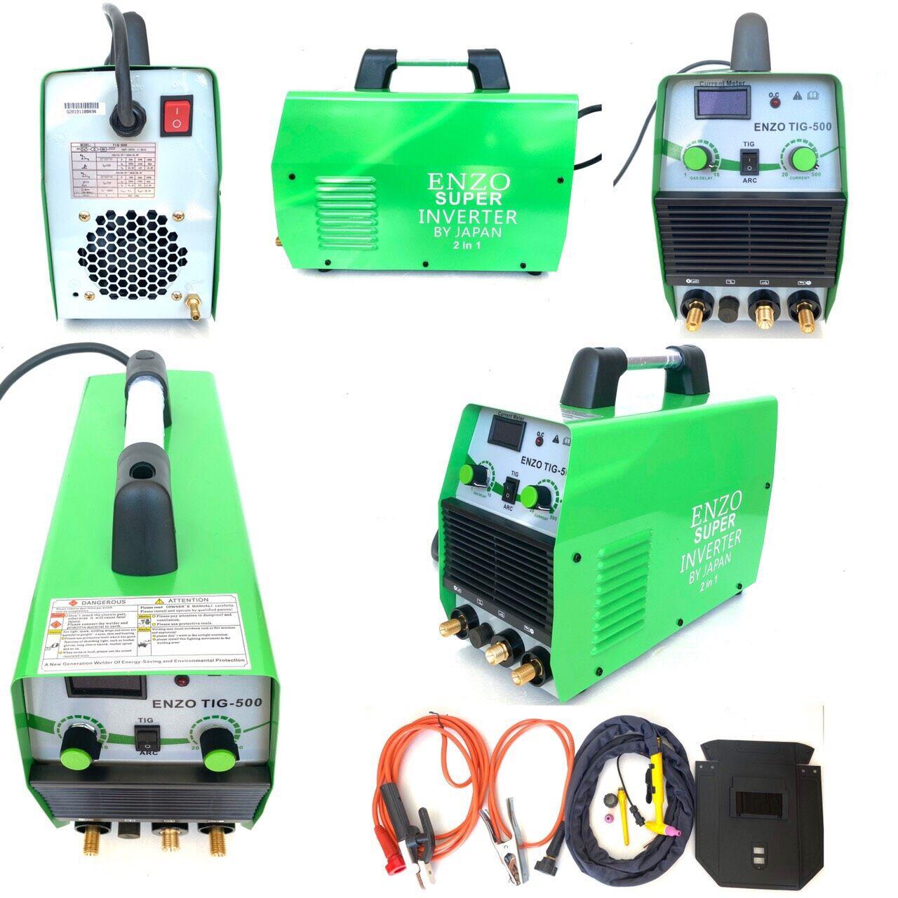ตู้เชื่อมอินเวอร์เตอร์  ENZO รุ่น INVERTER TIG-500  2 IN 1 ใช้ได้ทั้ง 2 ระบบ ทั้ง ARC และ TIG และกระแสไฟแรงแระคงที