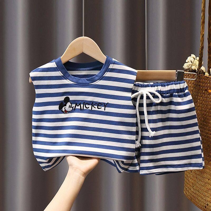 ชุดเสื้อกั๊กเด็กฤดูร้อนสำหรับเด็ก เด็กชายและเด็กสไตล์ตะวันตกสองชิ้นเด็กหล่อแขนกุดเสื้อผ้าบางๆ【7เดือน25Day After】