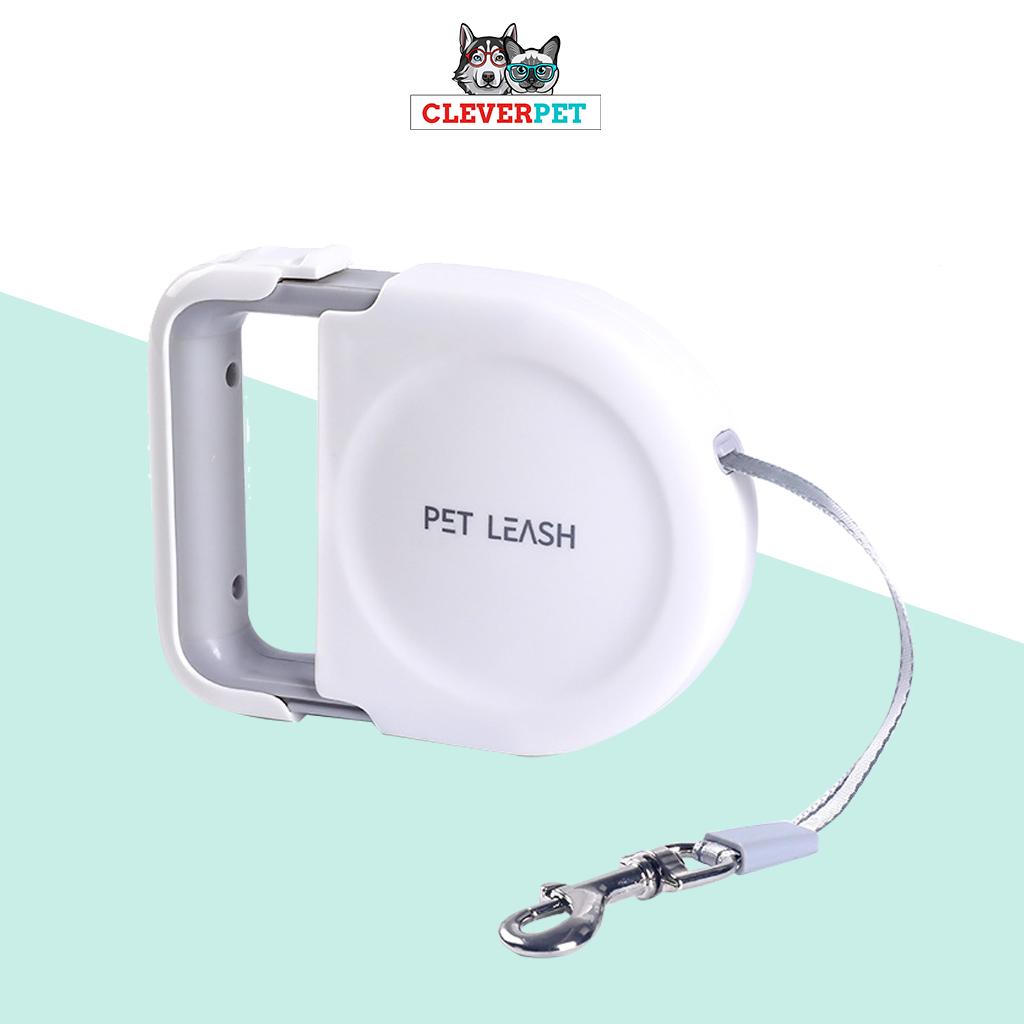 PET LEASH ดีไซน์ใหม่ 2021 สายจูงสปริง ยาว 5 เมตร สายจูงยืดหด สุนัข แมว ด้ามจับกะทัดรัดแบบดึงออก พกพาง่าย CleverPet