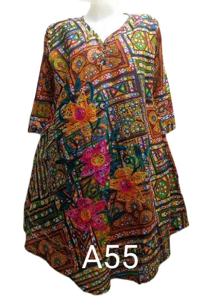 """เสื้อผ้าป่านอินเดียอก48"""" คอวีกุ้นแหลมมีห่วงคล้องกระดุม3เม็ด เสื้อตัวยาว เสื้อสาวอวบ เสื้อผ้าคนอ้วนเสื้อใส่เที่ยวพร้อมส่งค่ะ"""