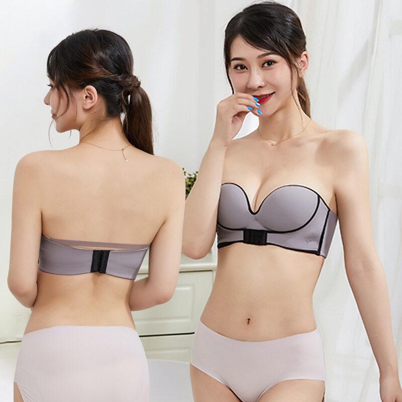 Som underwear เสื้อในไร้สาย บราไร้สาย มีตะขอหน้า ตะขอหลัง บราดันทรง ยกเนิน อกชิดขั้นสุด เกาะอก ไม่ต้องกลัวหลุด ฟองน้ำดันทรงในตัว B57