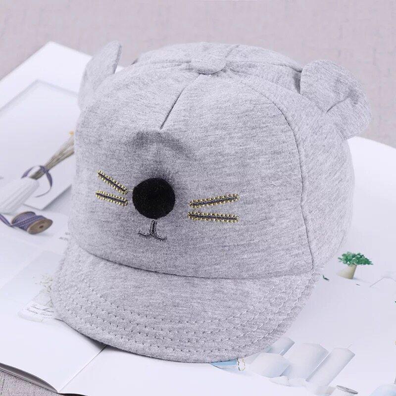 Babyonline(Y063)B2หมวกเบสบอลประดับหูน่ารักสำหรับเด็ก
