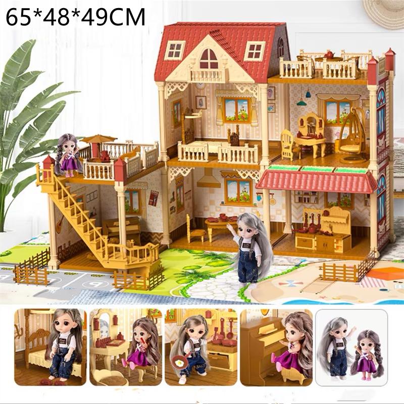 ของเล่นตุ๊กตา สาวบ้านตุ๊กตามีไฟLED มีเฟอร์นิเจอร์ ของเล่นบ้านบาร์บี้ บ้านตุ๊กตาDIYมีตุ๊กตา2ตัว ของเล่นชุดปราสาทเจ้าหญิน 8031