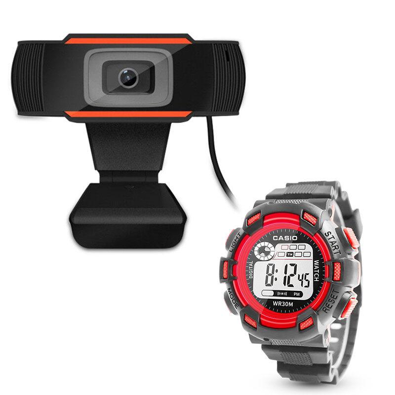 มาพร้อมนาฬิกาสปอร์ต Casio ฟรี / Webcams กล้องเครือข่าย Webcam 1080P หลักสูตรออนไลน์ กล้องคอมพิวเตอร์ การประชุมทางวิดีโอ อุปกรณ์การสอน การเรียนรู