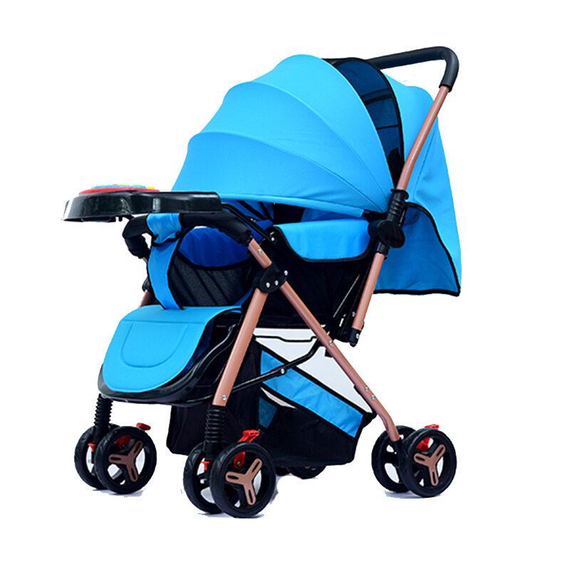รถเข็นเด็ก เข็นหน้า-หลังได้ ปรับเอนนอนได้ 3 ระดับ มีมุ้ง มีที่เก็บของด้านล่าง พับเก็บง่าย เคลื่อนย้ายง่าย