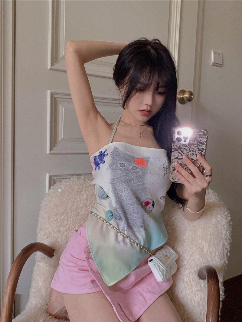 Everyday ? เสื้อคล้องคอแฟนชั่น ลายน่ารักคุณแมวสุดน่ารัก ☁️ (6888)