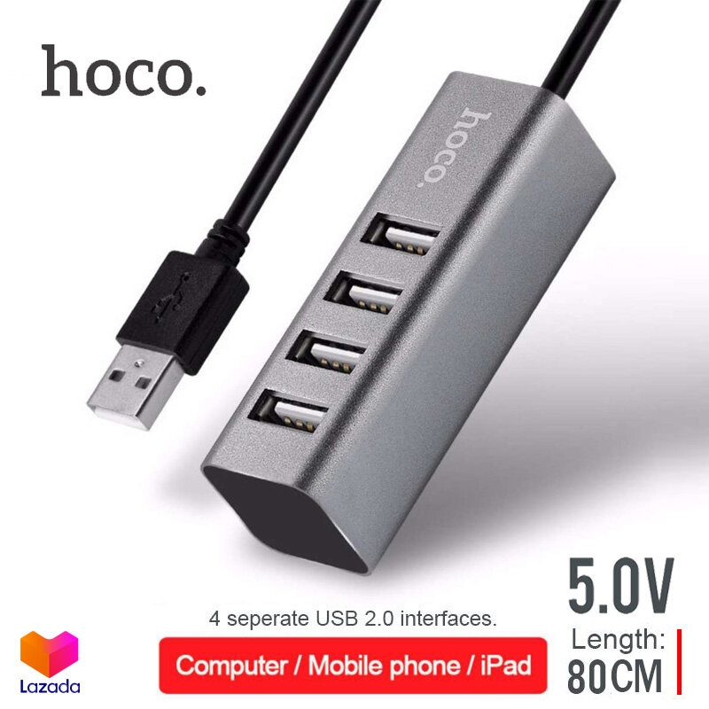 HOCO HB1 4 Port USB HUB 5.0V เพิ่มช่องเสียบ USB สายยาว 80 เซ็นติเมตร USB 2.0 สำหรับ PC และ Notebook